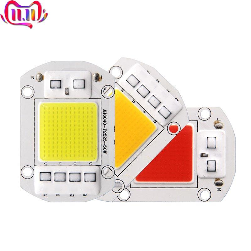 Driverless Smart IC AC 110V 220V Full Spectrum COB LED Light Chip For Floodlights Plant Grow Lamp 20W 30W 50W LED Bulb 60x40mm