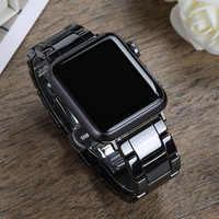 Keramik Strap für apple watch 5 4 band correa apple uhr 44mm 40mm 42mm 38mm Luxus edelstahl schnalle armband