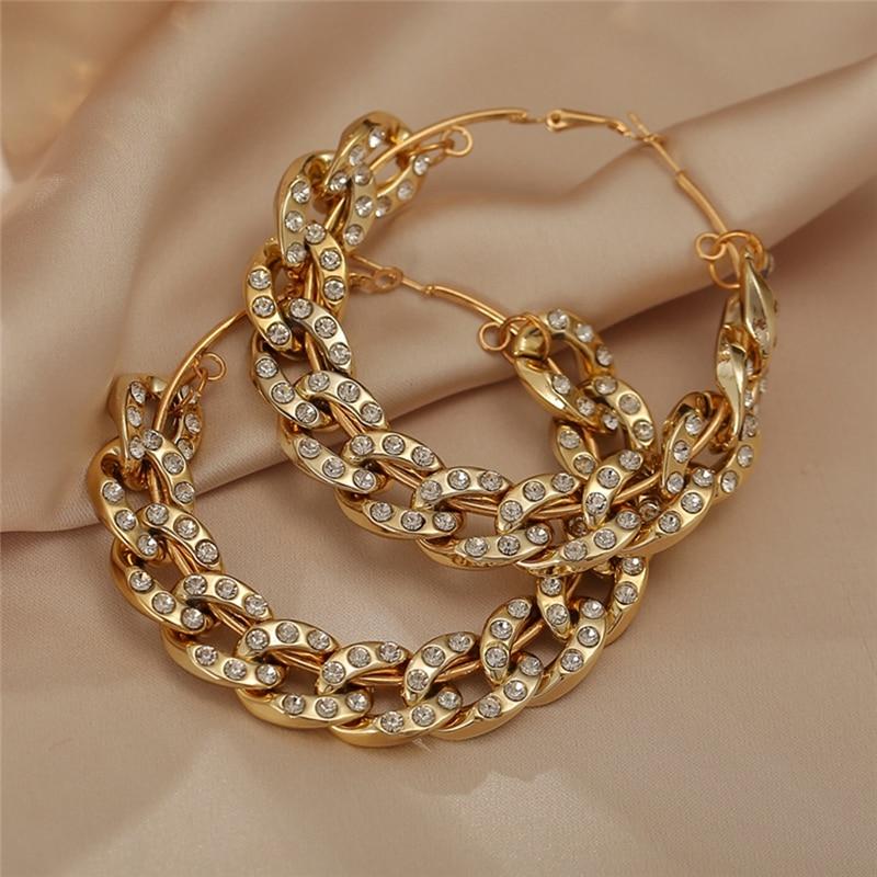 New Bohemian Oversize Chain Hoop Earrings For Women 2020 Crystal Round Metal Hoop Earring Female Jewelry Fashion Statement|Hoop Earrings| - AliExpress