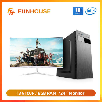 Funhouse Computers Intel 9th Gen i3  9100F Quad-core 8G DDR4 Memory 120G SSD Home Desktop PC Assembly Whole Set with 24'Monitor