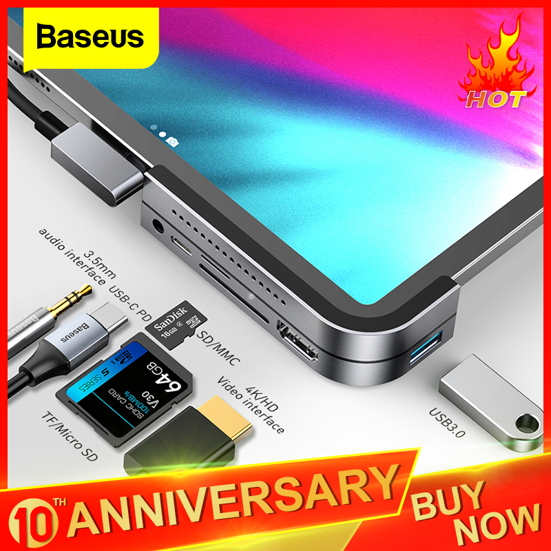 Baseus USB C HUB For IPad Pro 12.9 11 2018 Type C HUB To HDMI USB 3.0 PD Port 3.5mm Jack USB-C USB HUB Adapter For MacBook Pro