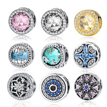 COLOGO 100% Real 925 Sterling Silver 10 Colors Crystal Radiant Hearts Charm Fit WST Bracelet DIY Authentic S925 Jewelry
