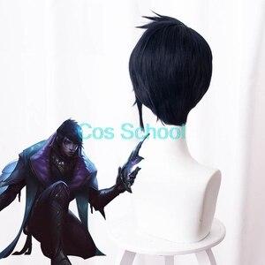 Image 4 - Cos School Aphelios Wig LOL League of Legends Aphelios Cosplay Wigs Blue Short Hair+Wig Cap Halloween Game Play Wigs