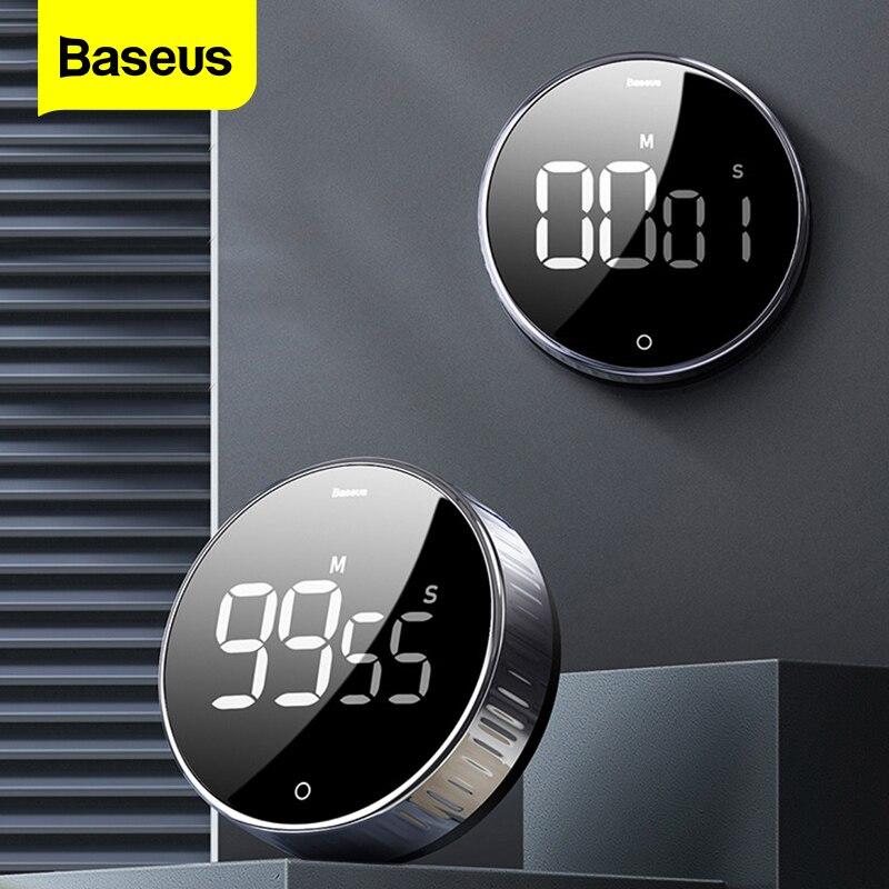 BASEUS LED Digital Timer Dapur untuk Memasak Shower Belajar Stopwatch Alarm Clock Magnetik Elektronik Memasak Waktu Hitung Mundur Timer
