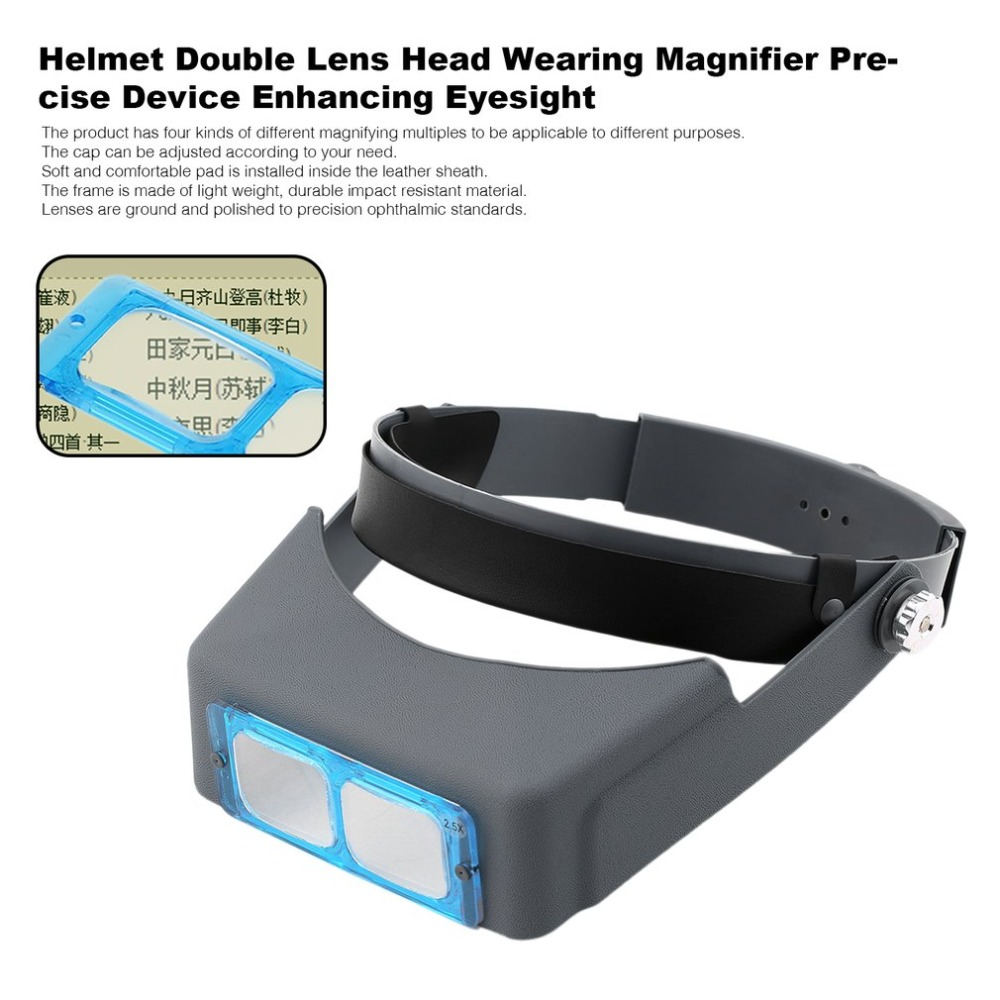 Hot Blue & Black Double Lens Head-mounted Headband Reading  Wearing  Loupe 4 Magnifications Tools