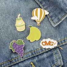 Fruit Grapes Banana OMG Hot Air Balloon Brooch Bag Clothes Backpack Lapel Enamel Pin Badges Jewelry Gift For Friends Women