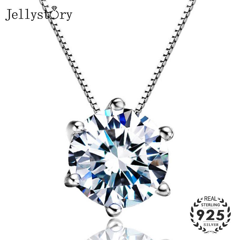 Jellystory Fashion 925 Sterling Silver Jewellery Necklace with 3A Zircon Pendant for Women Wedding Party Gift Wholesale Pendants