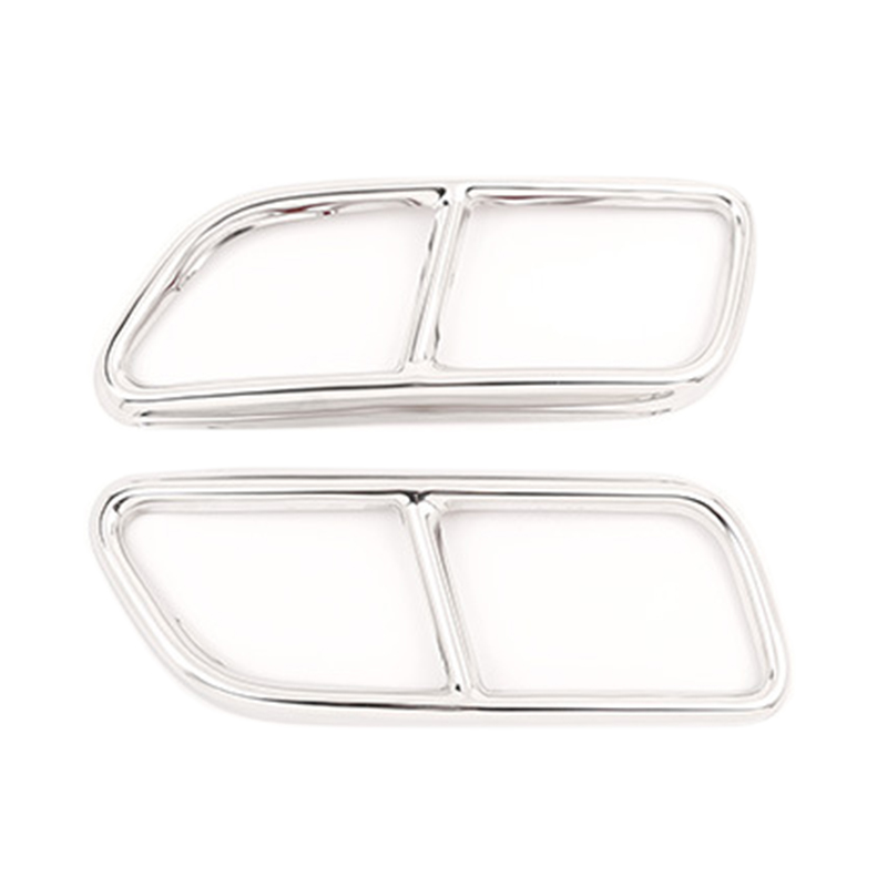 Stainless Steel Car Exhaust Pipe Tail Throat Decor Frame Trim Cover Liner Accessories For Volvo S60 2014-2019