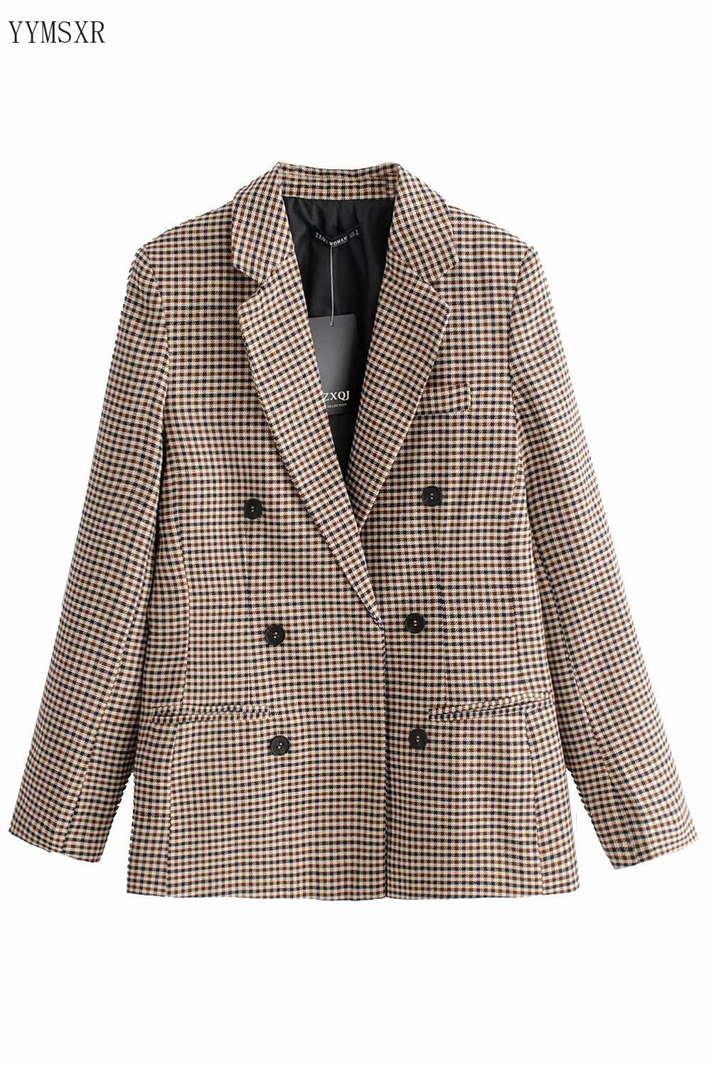 2020 new autumn plaid ladies blazer jacket feminine Casual slim ladies small suit Female Mid-length jacket and coat