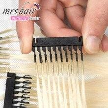 MrsHair-extensiones de cabello humano para salón, producto nuevo, 6D-1, 6D, máquina Remy, rubio platino, 16-24 pulgadas, 50-250G