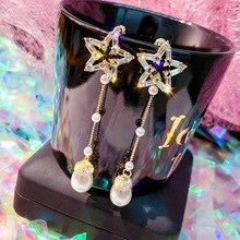 Women Earrings Full Crystal Long Tassel Leaf Star Pendant for Wedding Romantic Christmas Gifts