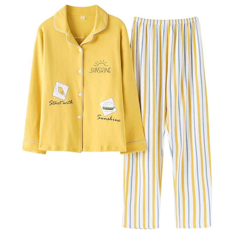 2019 New Turn-down Collar Pajama Set Women Korean Plus Size Cute Sleepwear Kawaii Pijama Mujer Loungewear Pyjama Femme Cotton
