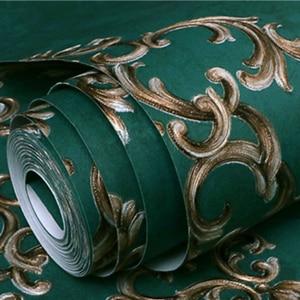 Image 3 - 유럽의 3D 양각 벽지 럭셔리 공작 녹색 부직포 벽 종이 거실 홈 배경 벽