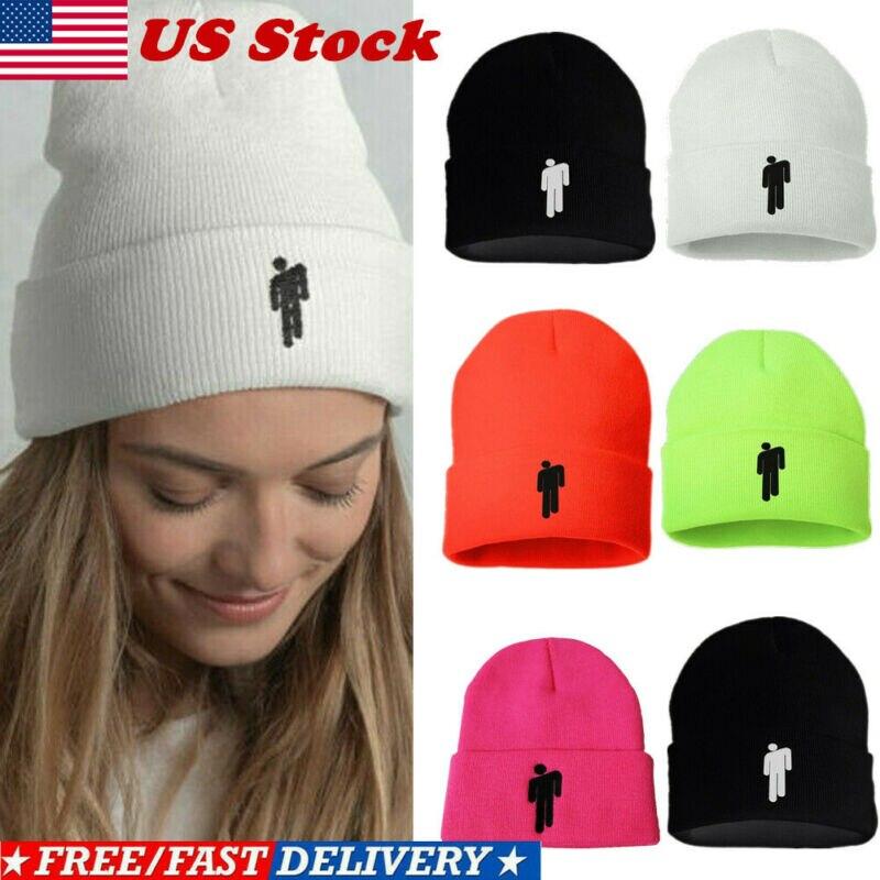 5 Color Unisex Women Men Skullies Beanies Billie Eilish Beanie Stickman Knit Hat Bonnet 2019 Winter Warm Beanies Hats For Unisex