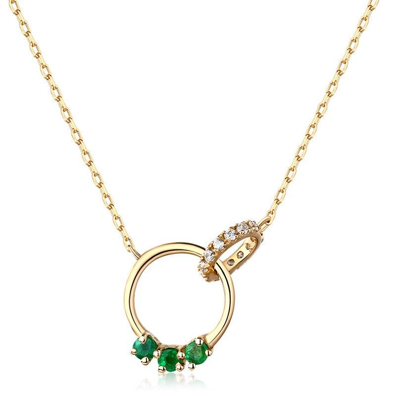Luxe 14K pur or jaune véritable émeraude 2 cercles pendentif collier pour femmes pierre gemme cristal charme anniversaire cadeau