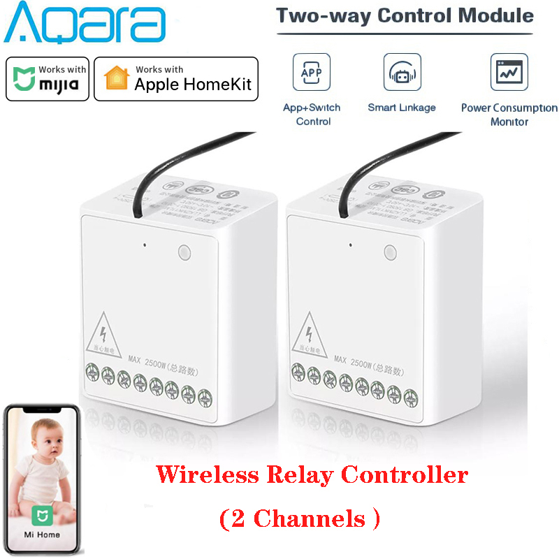 Aqara Relay Two-way Control Module Wireless Zigbee Relay Controller 2 Channels Smart Light Control Switch Work With Mihome App