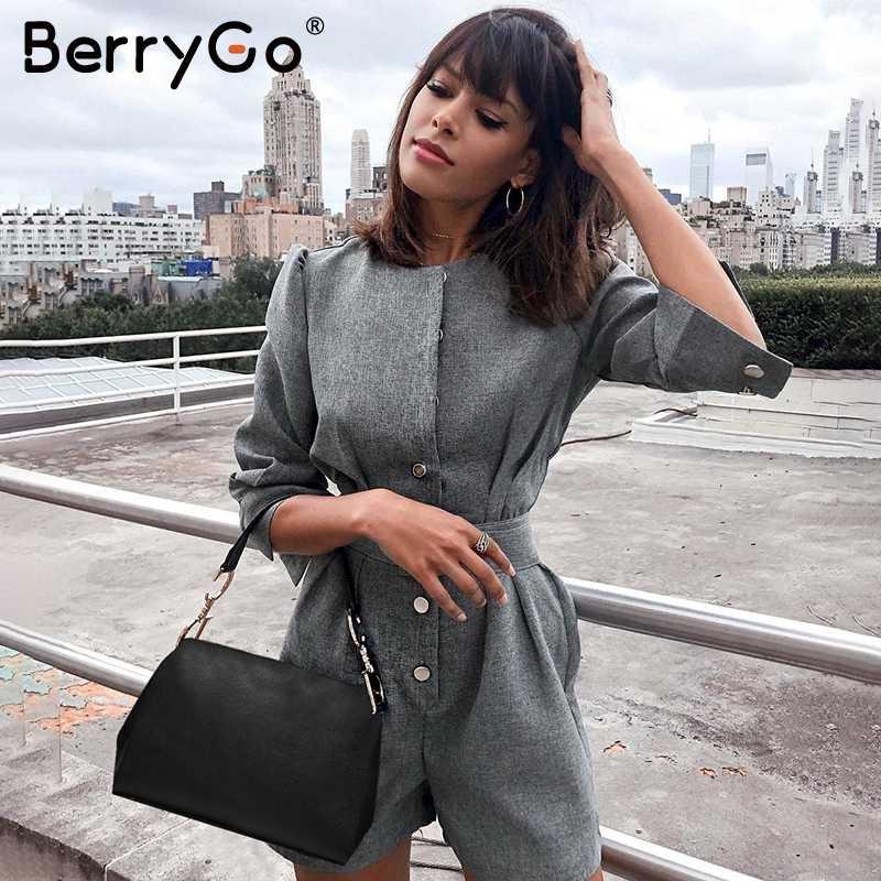 BerryGo botón blazer invierno mono mujer monos Oficina señoras monos mujer corto una pieza otoño trabajo Mono