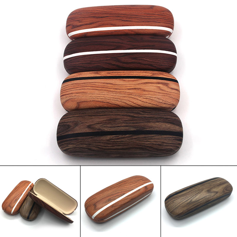 Portable Glasses Case Hard Wooden Grain Spectacle Frame Box Reading Glasses Sunglasses Holder Storage Case SER88