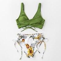 Bikini de cintura media con estampado de limón y amarillo para mujer, traje de baño Sexy de dos piezas con cordones 15