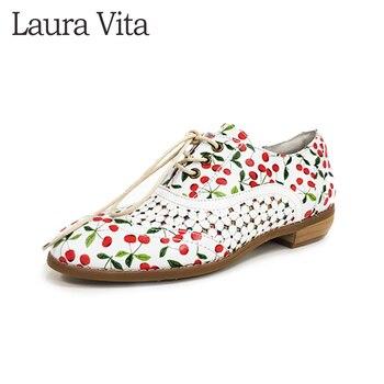Zapatos de mujer Laura Vita, zapatos de tacón bajo con correa en el tobillo, zapatos de mujer Retro de cuero genuino, CACNDICEO 20