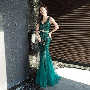 Image 4 - Женское вечернее платье русалка, Элегантное Длинное платье с глубоким v образным вырезом, украшенное блестками, с оборками, деловое платье, на лето, 2019