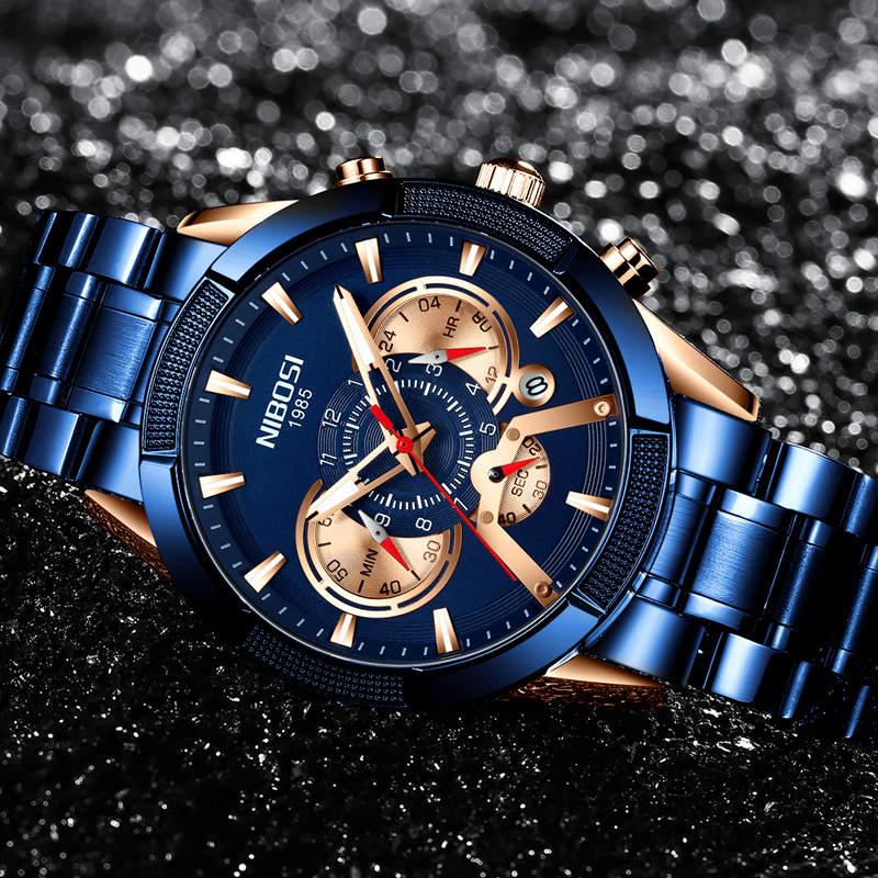 NIBOSI 2020 Custom Design Men Watches Top Luxury Waterproof Sport Quartz Watch Men Fashion Clock Chronograph Relogio Masculino