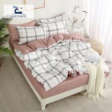 Liv-Esthete Geometry Bedding Set Gift Double Queen Duvet Cover Bedspread Flat Sheet Pillowcases Decorative Home Textiles 3/4pcs