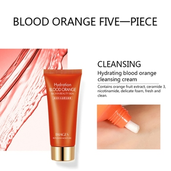 Fine China Sets | 5PCS Blood Orange Skin Care Set Moisturizing Smooth Fine Lines Anti-wrinkle Anti-aging Face Serum Set