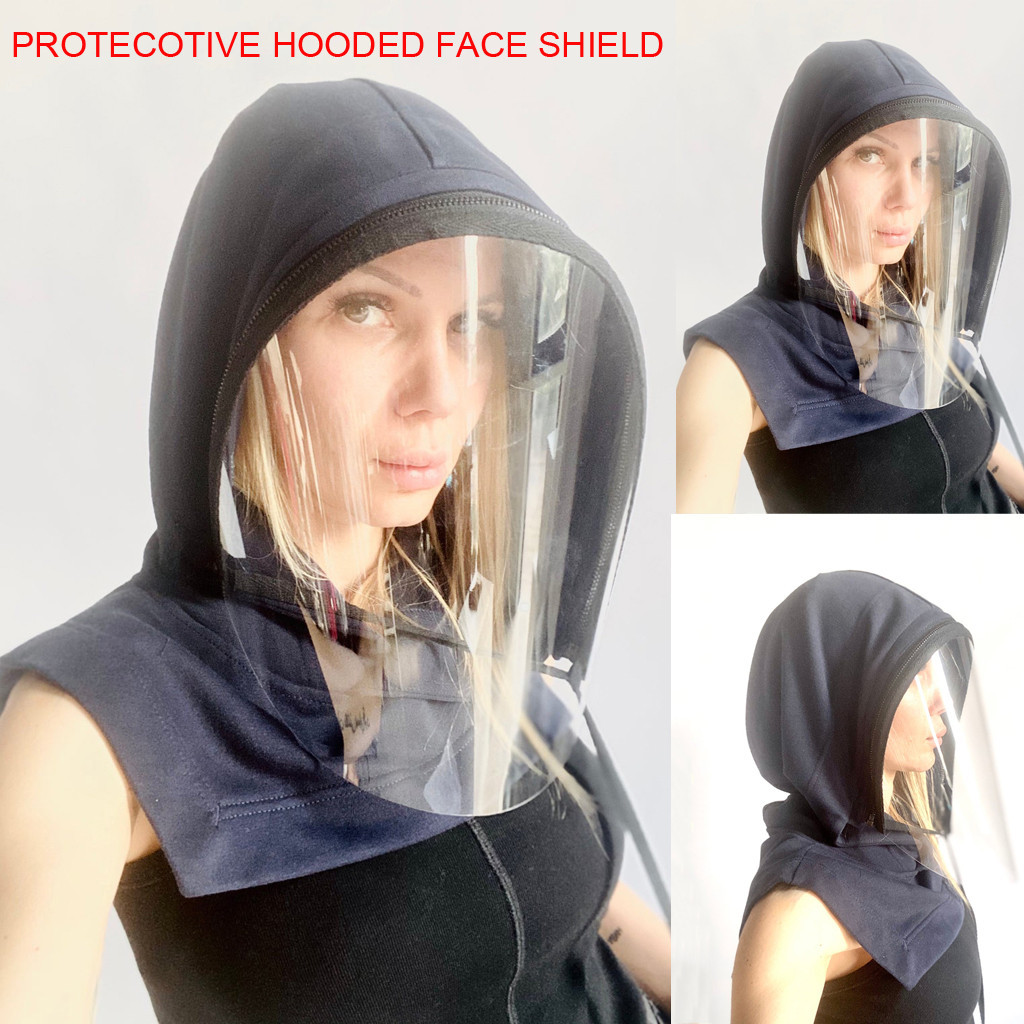 Men Women's Outdoor Motorcycle Face Mask Adults Face Shield Reusable Removable Full Protective Face Wear Clear Hooded Hat #T2G(China)