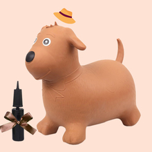 Brown Dog Bouncy Hopper Inflatable Toy  Ride On Animal Jumping Bouncing Horse Rubber For Kids Toys With Pump