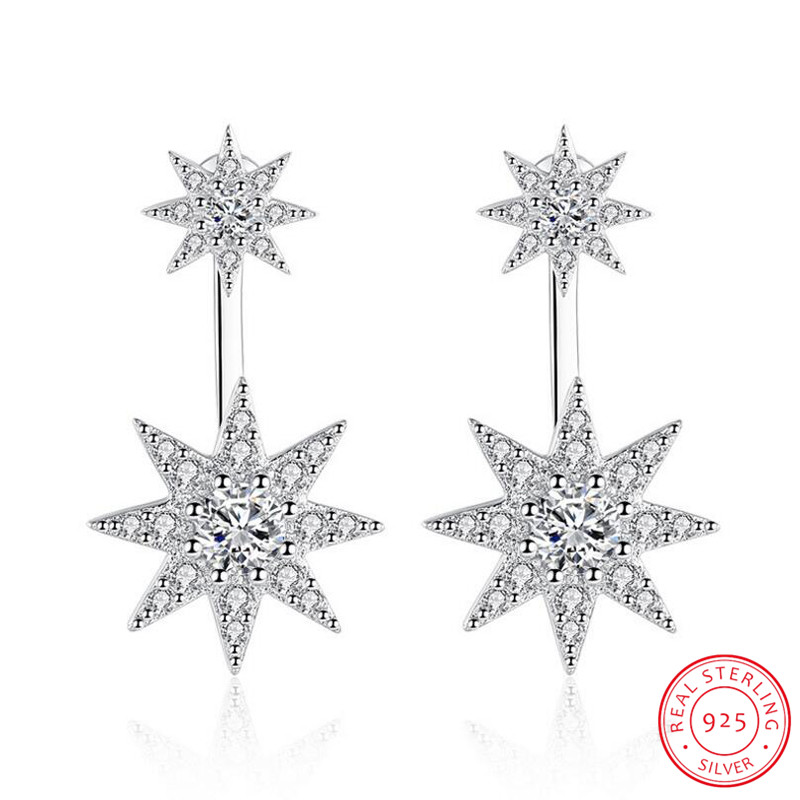 Newest Fashion 925 Sterling Silver Sparkling Crystal Zirconia Starlight Piercing Stud Earrings For Women Brincos S-E216