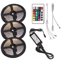 Tira de luz Led 2835 SMD RGB cinta diodo 5M 10M 15M resistente al agua Flexible RGB LED cinta luces 24Key controlador + adaptador
