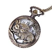 Tamanho grande retro escultura oco para fora masculino e feminino duplo coelho bolso relógio clássico relógio de bolso do zodíaco coelho bolso|  -