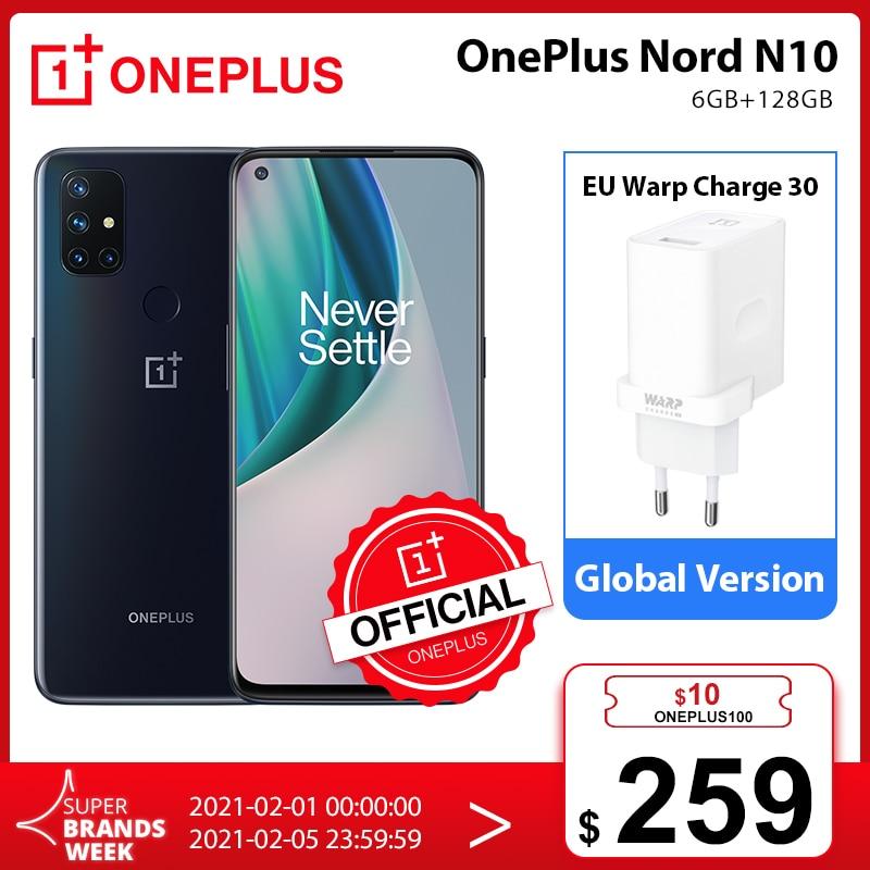 OnePlus Nord N10 5G OnePlus Official Store Światowa premiera globalna wersja 6GB 128GB Snapdragon 690 smartfon 90Hz wyświetlacz 64MP Quad Cams Warp 30T NFC; code: BLIXZIMA10($100-10);QPONYZIMA10($100-10)