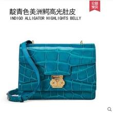 цены gete New crocodile skin  Ladies bag fashionable single shoulder bag leather alligator shiny belly cross body bag for ladies