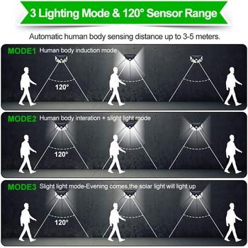 Goodland 100 LED Solar Light Outdoor Solar Lamp Powered Sunlight 3 Modes PIR Motion Sensor for Garden Decoration Wall Street 4