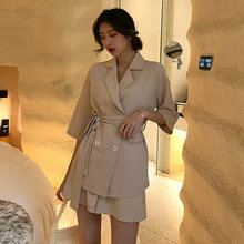 Summer Women Cotton Short Tracksuit Lace Up Jacket Blazer & Elastic Waist Shorts Loose Female Suit with shorts 2 Pieces Set(China)