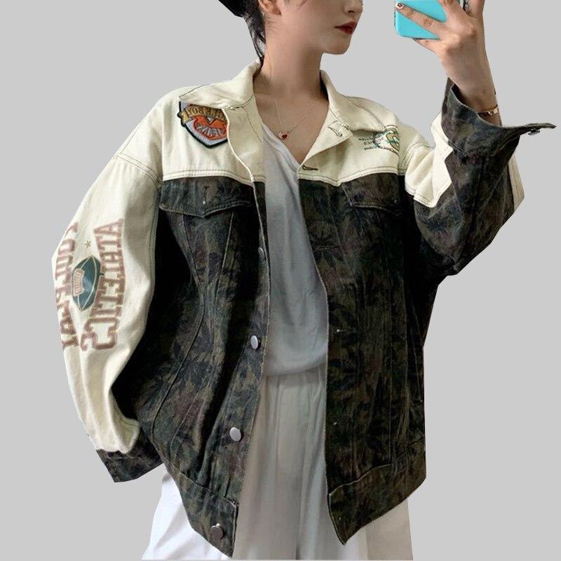 Лоскутная Женская джинсовая куртка Свободная Harajuku уличная верхняя одежда женская осенняя куртка с длинными рукавами для женщин базовое пальто|Куртки|   | АлиЭкспресс