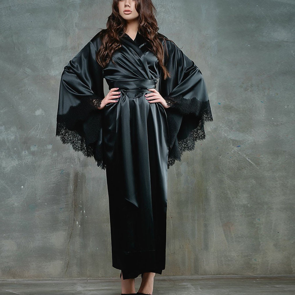 Women's Robe Nightgown Sexy Lingerie Lace Satin Sleepwear Nightwear Kimono Nightdress Long Sleeve Bridesmaid Bathrobe Homewear