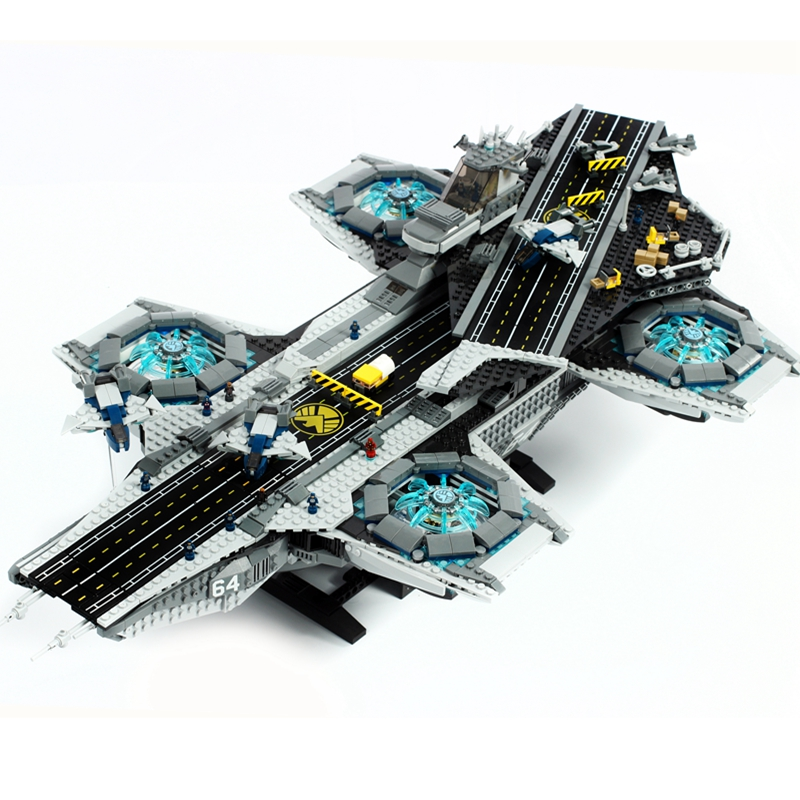 For LEGOing Marvel Super Heroes UCS The SHIELD Helicarrier Set LEGOing Avengers Endgame Movie Flagship Blocks Spaceship Toy Gift