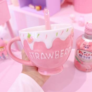 Kawaii Strawberry Milk Mug For Girl Personalised Creative Ceramic Oatmeal Yogurt Dessert Breakfast Mug Cute Coffee Tea Water Cup 1