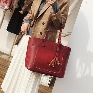 Image 3 - Женская сумка, женская сумка на плечо, Женская Ретро сумка тоут, женская новая модная сумка с кисточками, женские вместительные сумки