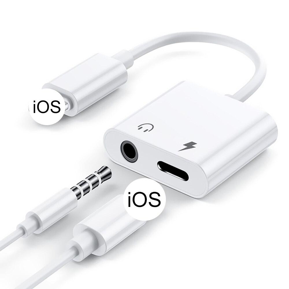 Аудиоадаптер 2 в 1, зарядный кабель для наушников для iPhone 11, 12 Pro, Max, xXS, Aux-разъем, гарнитура с подсветкой, разветвитель для наушников 3,5 мм