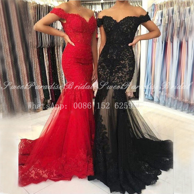 Luxury Beads Lace Bridesmaid Dresses With Appliques 2020 Mermaid Off Shoulder Women Long Sweep Train Prom Dress Wedding Party