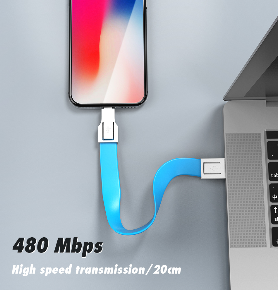 !ACCEZZ For iphone Cable Fast Charging For iphone XR XS MAX X 8 7 6 5 Plus Ipad mini Short USB Cable Keychain Data Sync TPE Cord (3)