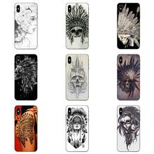 For Galaxy A3 A5 A6 A6s A7 A8 A9 A10 A20E A30 A40 A50 A60 A70 A80 A90 Plus 2018 TPU New Arrival Indian Feather Skull(China)