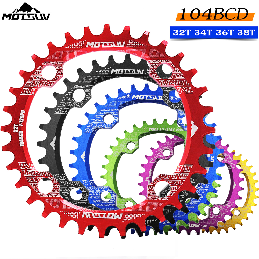 MOTSUV Round Narrow Wide Chainring MTB Mountain bike bicycle 104BCD 32T 34T 36T 38T crankset Tooth plate Parts 104 BCD