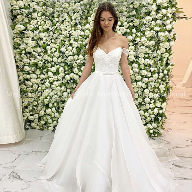 Simple Lace Wedding Dress Off The Shoulder A-line Organza Satin Bridal Gowns White Ivory Couture Dresses For Spring Wedding