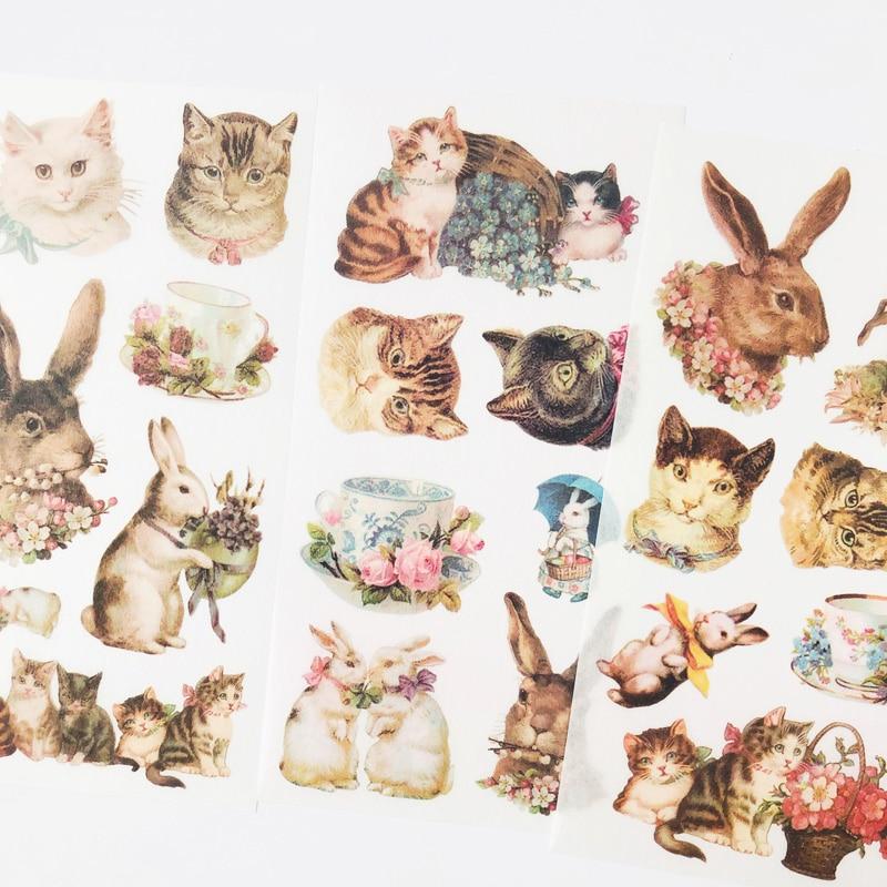 3 Sheets /Pack Kawaii Pet Rabbit & Cat Decorative Stickers DIY Diary Album Party Decor