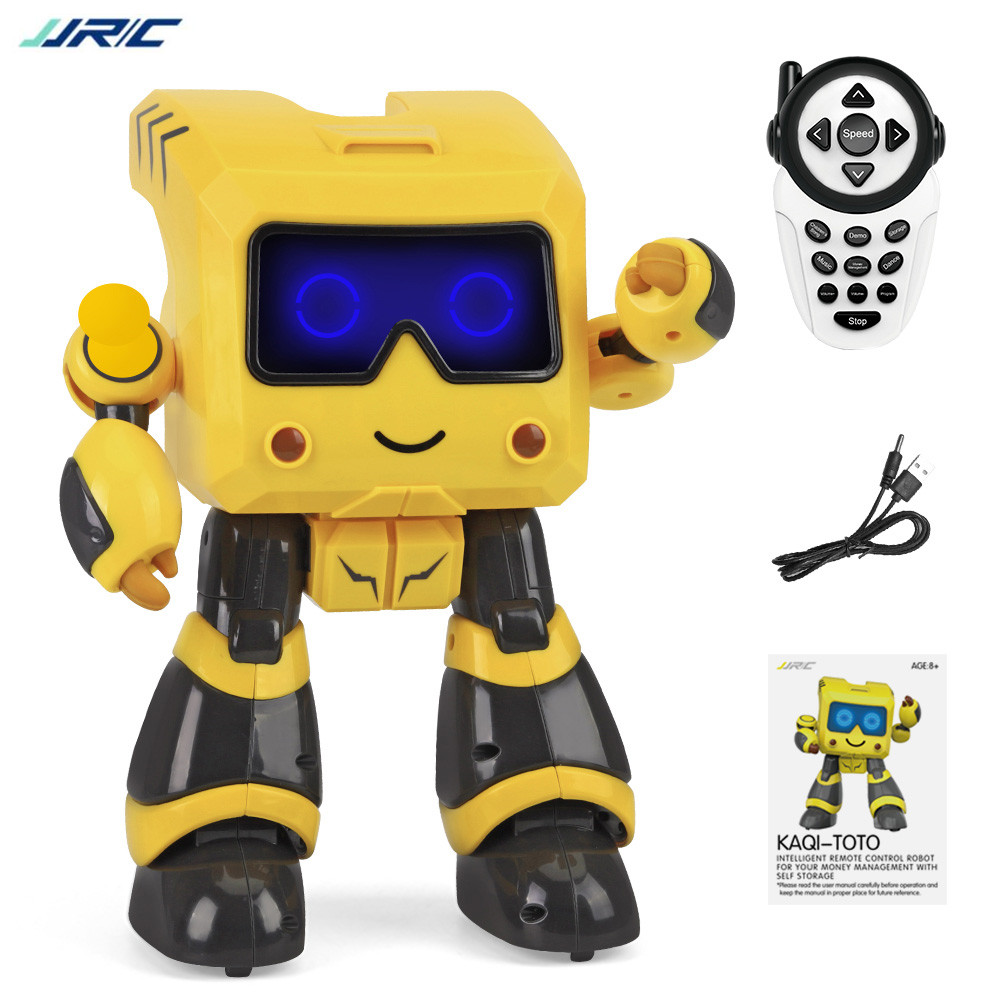 JJRC R17 KUQI-TOTO RC Robot Storage Management Coin Sensing Fast Slow Switching Light Music Robots Intelligent Programming Toy runaway little yellow man